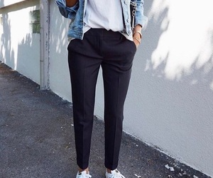 fashion, outfit, and denim jacket image