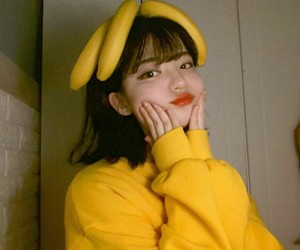 yellow, banana, and girl image