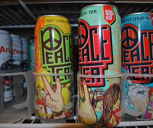 peace tea, peace, and drink image