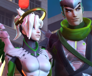 mercy, genji, and overwatch image