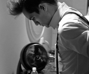 brendon urie, panic! at the disco, and black and white image