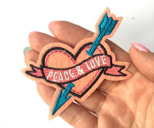 heart, patches, and peace and love image