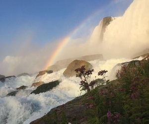 rainbow, nature, and mountains image