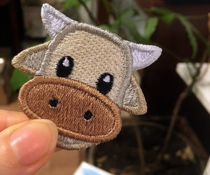 patches, emoji, and cow image