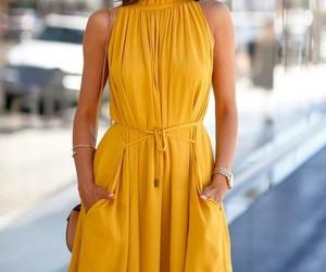 dress, yellow, and short image