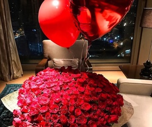 flowers, rose, and balloons image