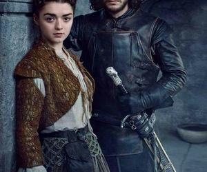 arya stark, game of thrones, and jon snow image