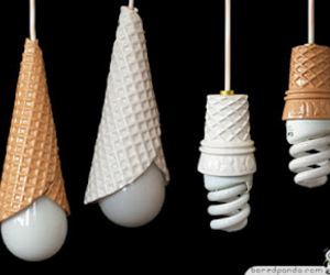 ice cream, light, and lamp image