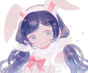 anime girl, kawaii, and rabbit image