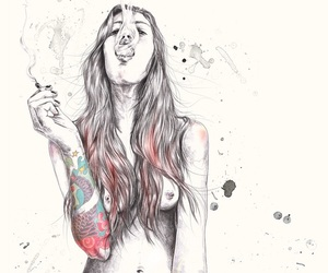 girl, smoke, and tattoo image