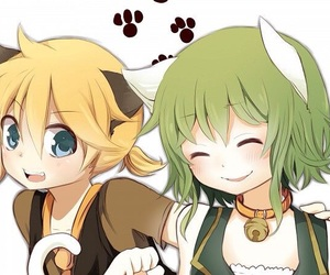 cat, kagamine len, and vocaloid image