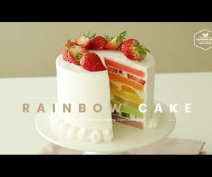 cake, rainbow, and food porn image