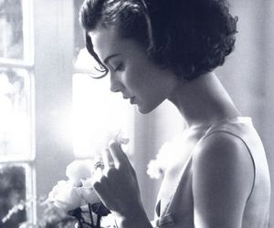 flowers, black and white, and woman image