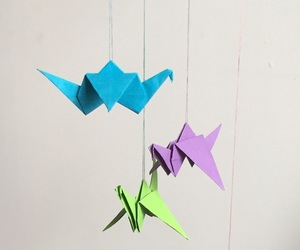 colors, origami, and crane image