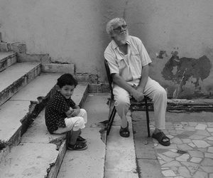 black and white and familly image