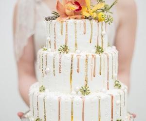 bridal, bride, and cake image