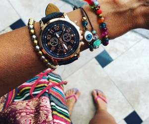reloj, watch, and golden rose image
