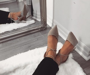 grey and white, heels, and shoes image