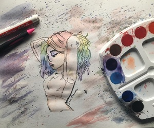 colors, drawing, and girl image