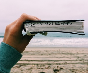 waves, book, and beach image