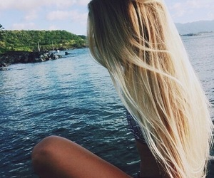 blond hair, trees, and boat image