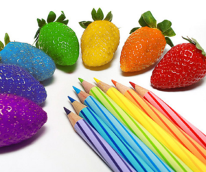 strawberry, rainbow, and colorful image