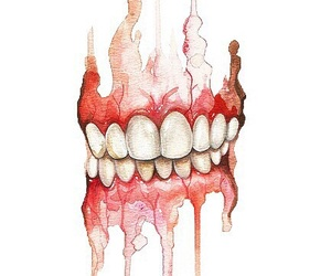 teeth, art, and red image