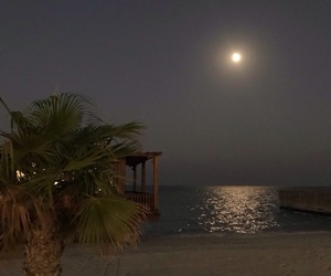 night, moon, and beach image