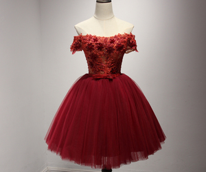 cocktail dress, tulle, and wine red image