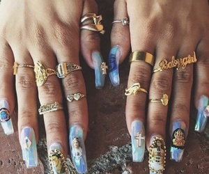 nails, blue, and jewelry image