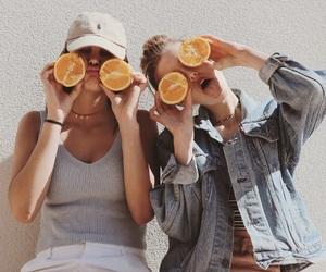 fruit, girl, and friendship image