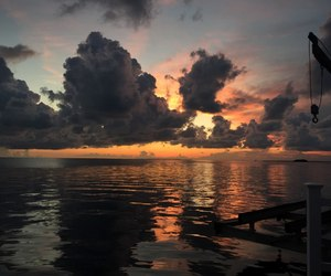 clouds, sea, and sunset image