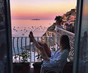 girl, travel, and sunset image