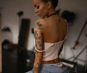 girl, tats, and tattoo image