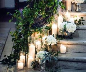 candle, wedding, and flowers image