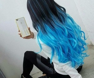 blue, hair, and black image