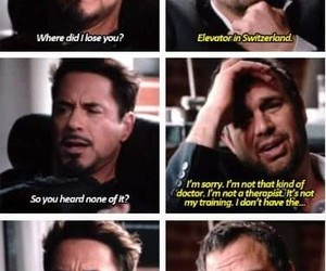funny, tony stark, and bruce banner image