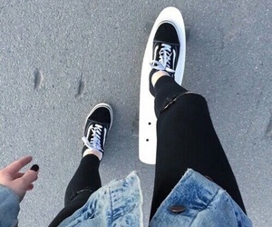 vans, skate, and black image