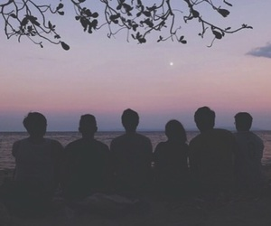 friends, sunset, and beach image
