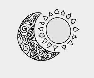 wallpaper, moon, and sun image