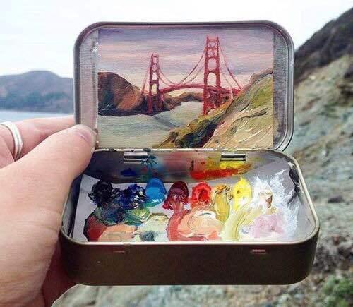 art, painting, and bridge image