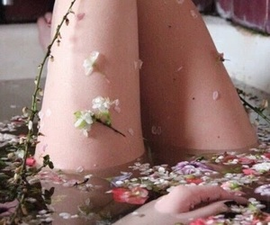 bath, flowers, and tumblr image