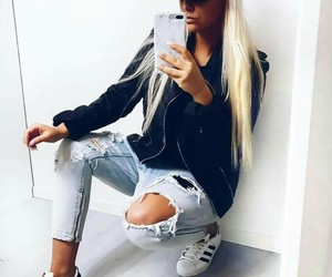 blonde, long hair, and fashion image
