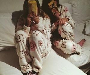 girls, pyjama, and friends image