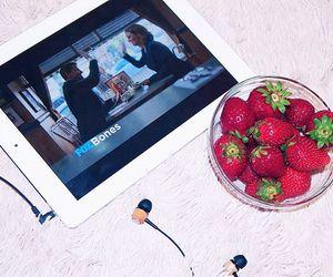 bones, strawberry, and headphones image