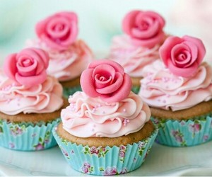 cup cake, cupcakes, and rose image