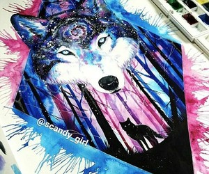 art, wolf, and colors image