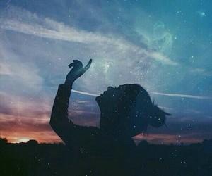girl, sky, and stars image