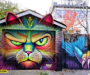 cat, art, and graffiti image