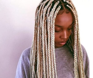 braid, hairstyle, and box braids image